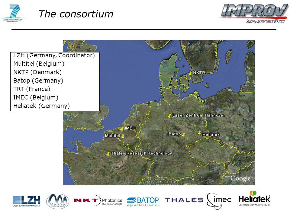 LZH (Germany, Coordinator) Multitel (Belgium) NKTP (Denmark) Batop (Germany) TRT (France) IMEC (Belgium) Heliatek (Germany) The consortium