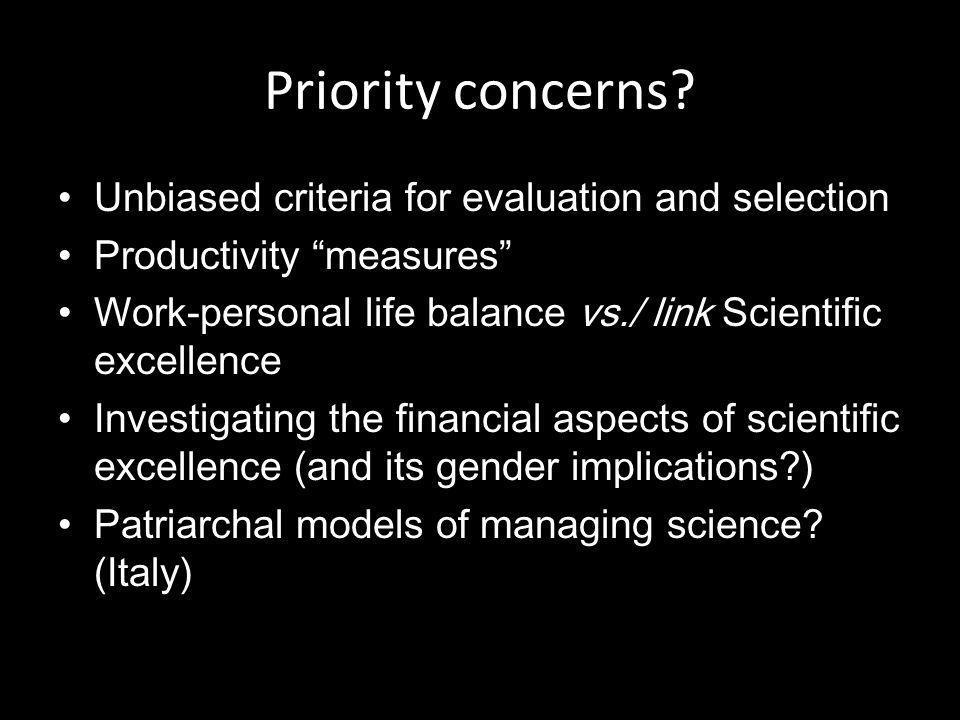 Priority concerns.