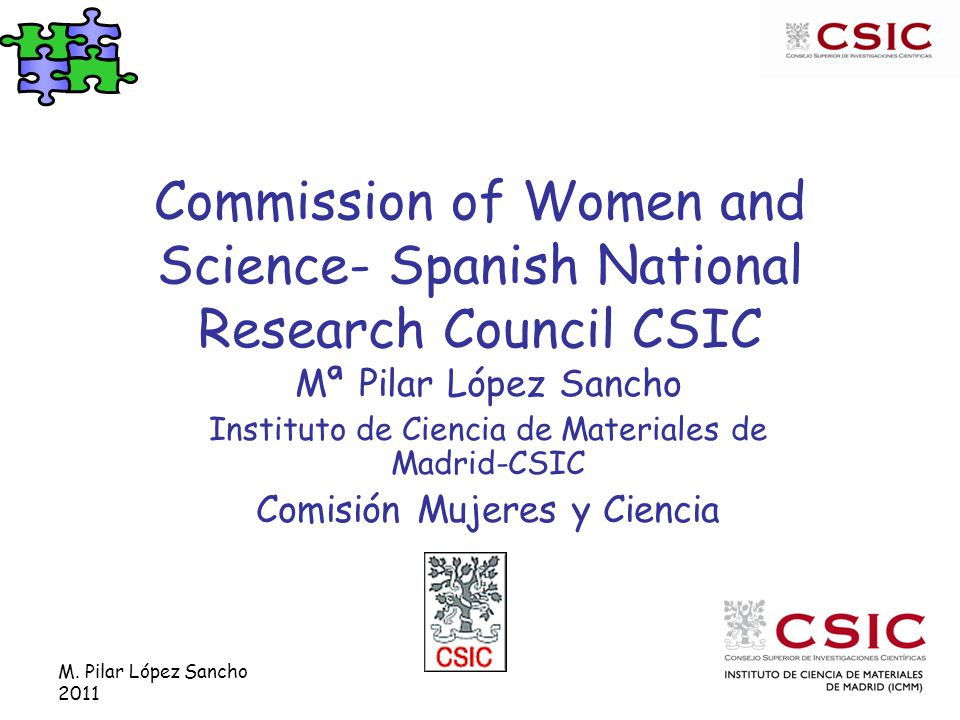M. Pilar López Sancho 2011 Commission of Women and Science- Spanish National Research Council CSIC Mª Pilar López Sancho Instituto de Ciencia de Mater