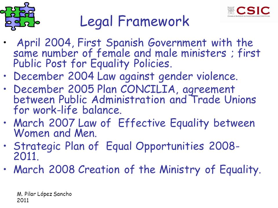 M. Pilar López Sancho 2011 Legal Framework April 2004, First Spanish Government with the same number of female and male ministers ; first Public Post