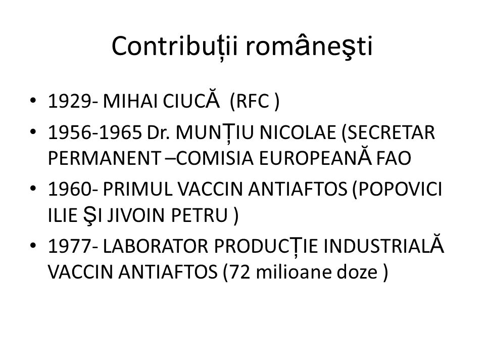 Contribu ţ ii rom â ne ş ti 1929- MIHAI CIUC Ă (RFC ) 1956-1965 Dr.