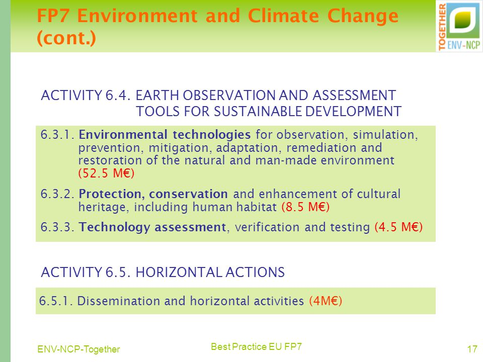 Best Practice EU FP7 17ENV-NCP-Together ACTIVITY 6.4.