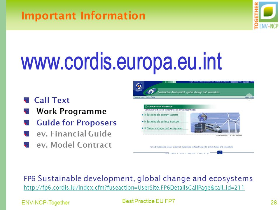 Best Practice EU FP7 28ENV-NCP-Together Call Text Work Programme Guide for Proposers ev.
