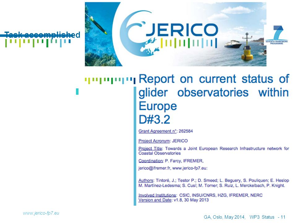 GA, Oslo, May 2014, WP3 Status - 12 OUTLINE www.jerico-fp7.eu Deliverable 3.2: Current Status of Glider Observatories