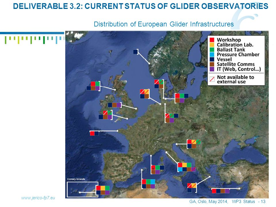 GA, Oslo, May 2014, WP3 Status - 13 www.jerico-fp7.eu Distribution of European Glider Infrastructures DELIVERABLE 3.2: CURRENT STATUS OF GLIDER OBSERV