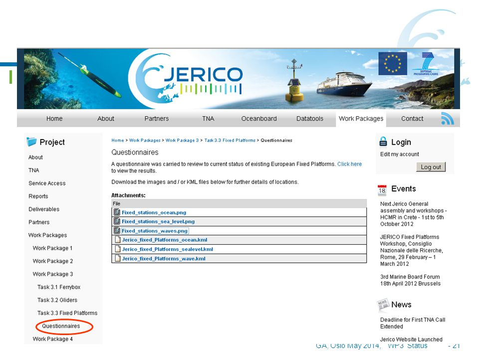 GA, Oslo May 2014, WP3 Status - 22 D 3.4. REPORT ON NEW SENSOR DEVELOPMENTS www.jerico-fp7.eu