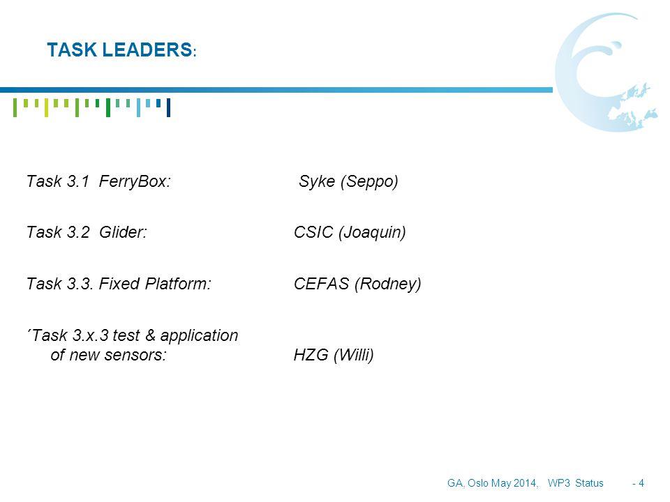 GA, Oslo May 2014, WP3 Status - 4 TASK LEADERS : Task 3.1 FerryBox: Syke (Seppo) Task 3.2 Glider:CSIC (Joaquin) Task 3.3.