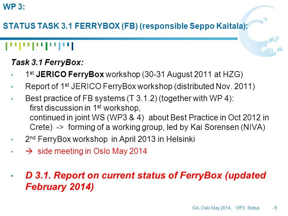 GA, Oslo May 2014, WP3 Status - 6 WP 3: STATUS TASK 3.1 FERRYBOX (FB) (responsible Seppo Kaitala): Task 3.1 FerryBox: 1 st JERICO FerryBox workshop (30-31 August 2011 at HZG) Report of 1 st JERICO FerryBox workshop (distributed Nov.