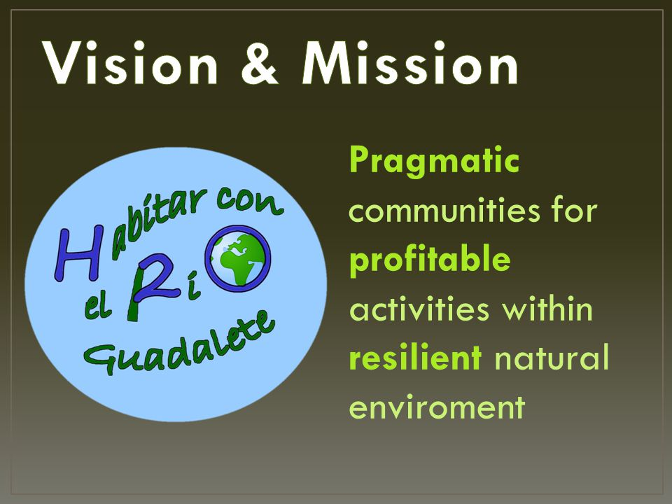 Pragmatic communities for profitable activities within resilient natural enviroment