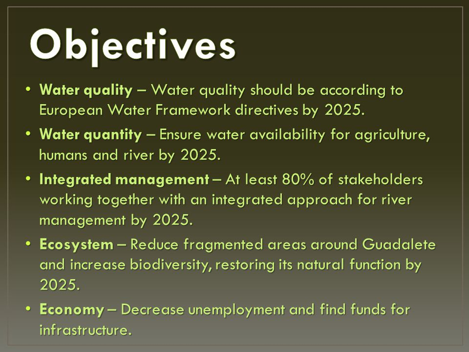 Water quality – Water quality should be according to European Water Framework directives by 2025.
