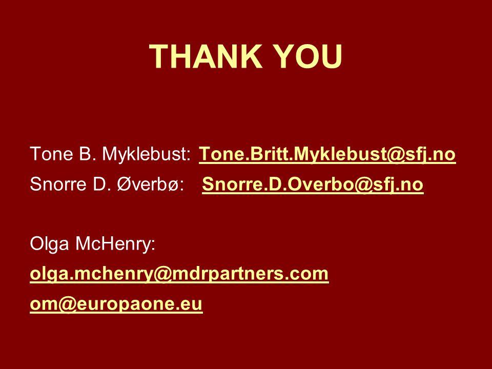 THANK YOU Tone B. Myklebust: Tone.Britt.Myklebust@sfj.noTone.Britt.Myklebust@sfj.no Snorre D.