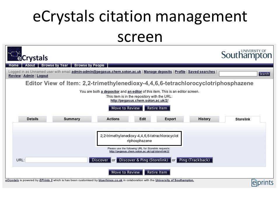 eCrystals citation management screen