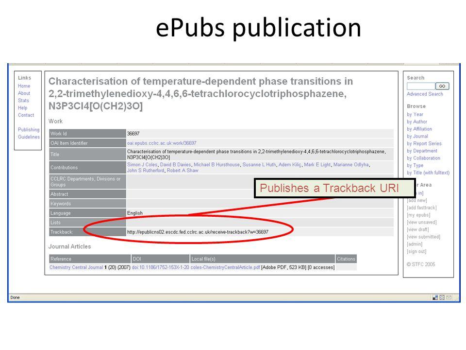 Publishes a Trackback URI ePubs publication