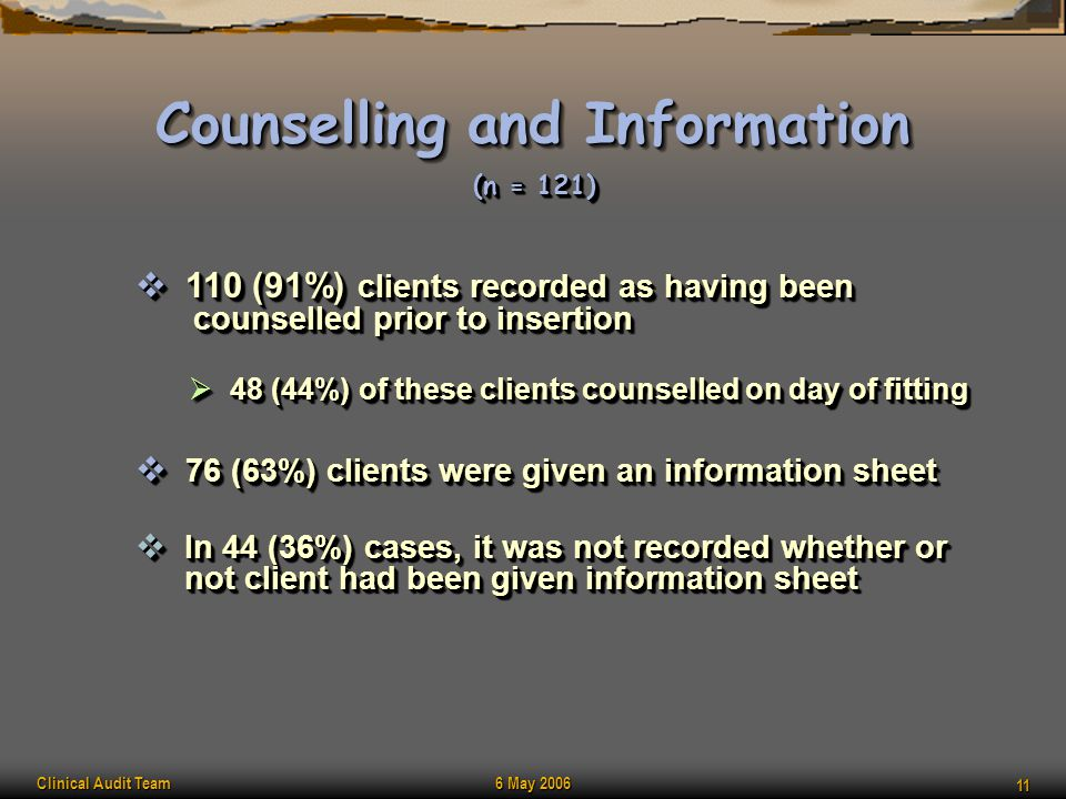 Clinical Audit Team 6 May 2006 11 Counselling and Information  110 (91%) clients recorded as having been counselled prior to insertion  48 (44%) of