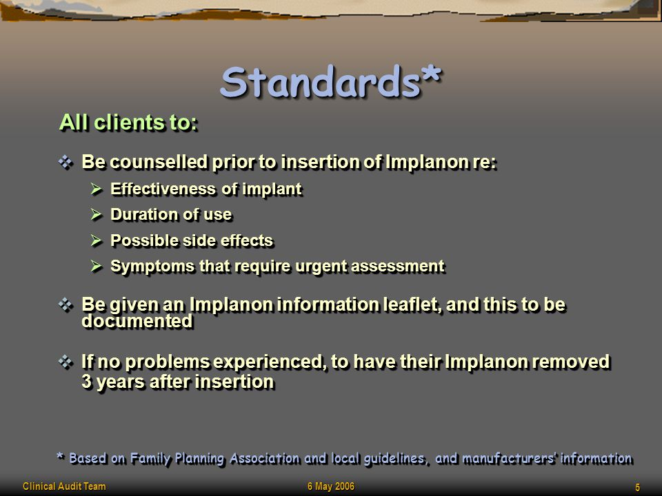 Clinical Audit Team 6 May 2006 5 Standards*Standards*  Be counselled prior to insertion of Implanon re:  Effectiveness of implant  Duration of use
