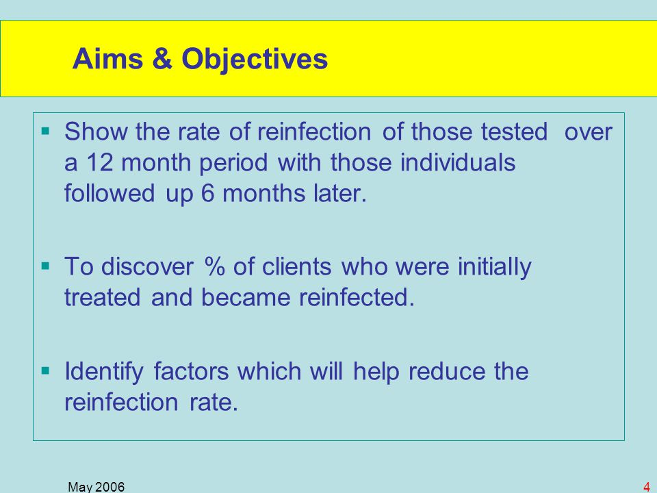 May 20064 Aims & Objectives  Show the rate of reinfection of those tested over a 12 month period with those individuals followed up 6 months later.