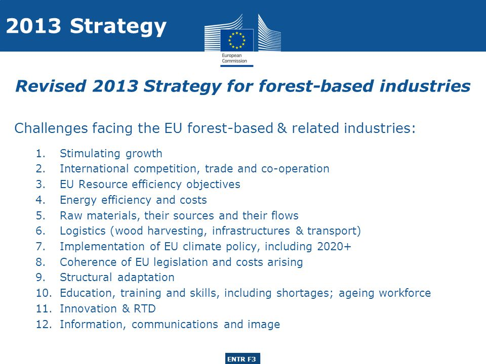 ENTR G3 ENTR F3 Challenges facing the EU forest-based & related industries: 1.Stimulating growth 2.International competition, trade and co-operation 3.EU Resource efficiency objectives 4.Energy efficiency and costs 5.Raw materials, their sources and their flows 6.Logistics (wood harvesting, infrastructures & transport) 7.Implementation of EU climate policy, including 2020+ 8.Coherence of EU legislation and costs arising 9.Structural adaptation 10.Education, training and skills, including shortages; ageing workforce 11.Innovation & RTD 12.Information, communications and image 2013 Strategy Revised 2013 Strategy for forest-based industries