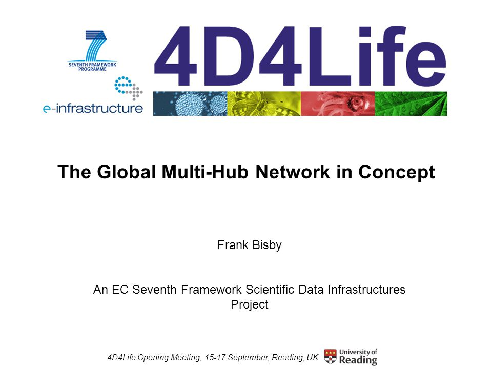 4D4Life Opening Meeting, 15-17 September, Reading, UK The Global Multi-Hub Network in Concept Frank Bisby An EC Seventh Framework Scientific Data Infrastructures Project