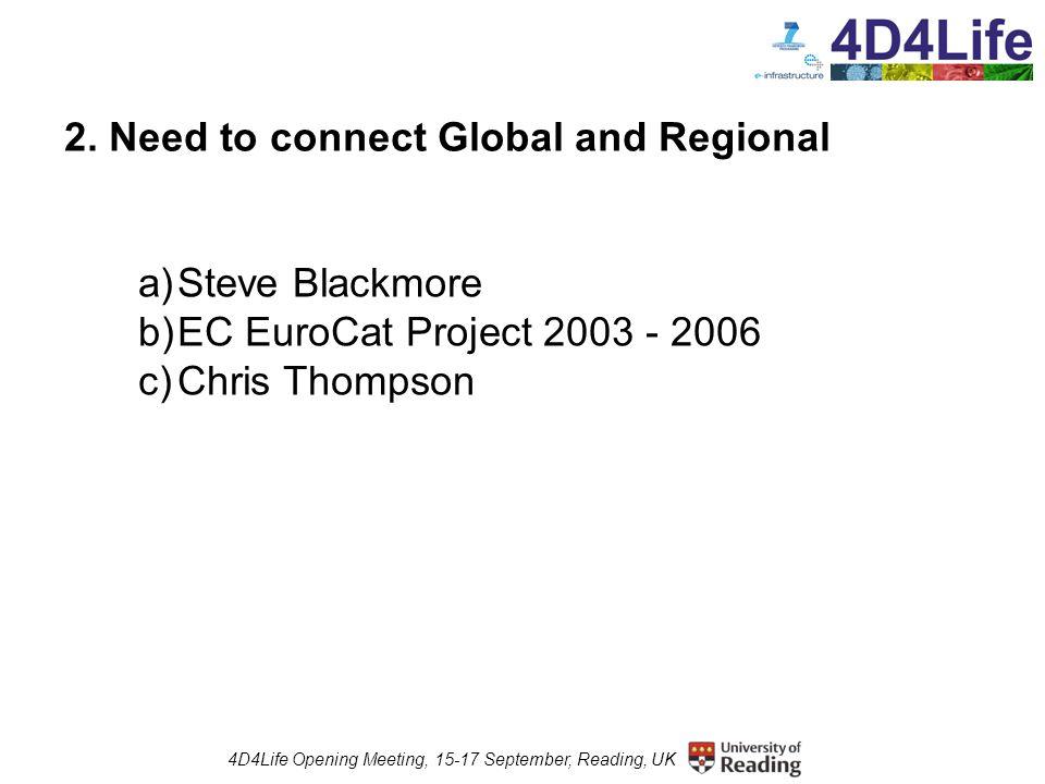 4D4Life Opening Meeting, 15-17 September, Reading, UK 6.