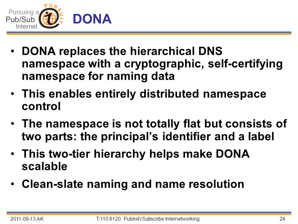 2011-09-13 AK T-110.6120: Publish/Subscribe Internetworking 24 DONA DONA replaces the hierarchical DNS namespace with a cryptographic, self-certifying namespace for naming data This enables entirely distributed namespace control The namespace is not totally flat but consists of two parts: the principal's identifier and a label This two-tier hierarchy helps make DONA scalable Clean-slate naming and name resolution