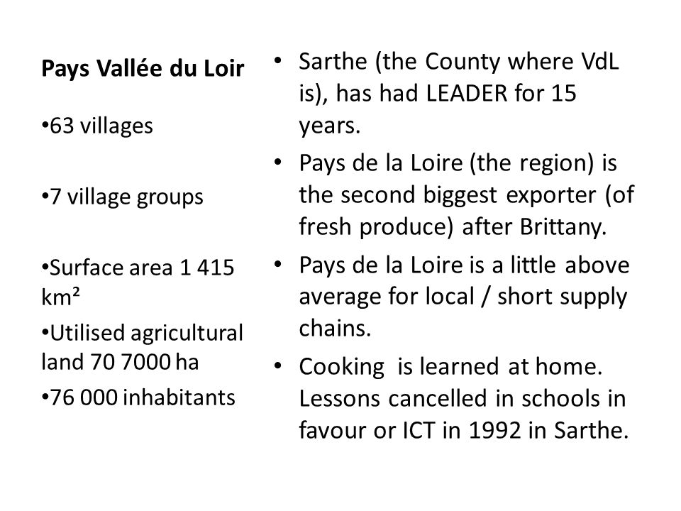Pays Vallée du Loir Sarthe (the County where VdL is), has had LEADER for 15 years.