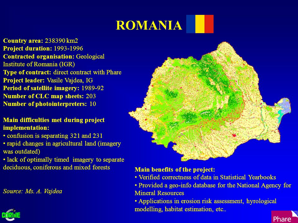 ROMANIA Country area: 238390 km2 Project duration: 1993-1996 Contracted organisation: Geological Institute of Romania (IGR) Type of contract: direct contract with Phare Project leader: Vasile Vajdea, IG Period of satellite imagery: 1989-92 Number of CLC map sheets: 203 Number of photointerpreters: 10 Main difficulties met during project implementation: confusion is separating 321 and 231 rapid changes in agricultural land (imagery was outdated) lack of optimally timed imagery to separate deciduous, coniferous and mixed forests Source: Ms.