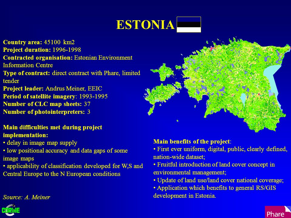 ESTONIA Country area: 45100 km2 Project duration: 1996-1998 Contracted organisation: Estonian Environment Information Centre Type of contract: direct