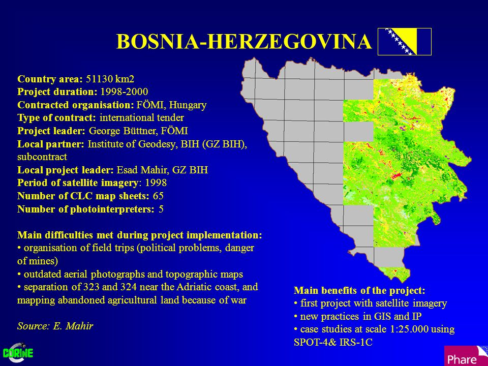 BOSNIA-HERZEGOVINA Country area: 51130 km2 Project duration: 1998-2000 Contracted organisation: FÖMI, Hungary Type of contract: international tender P