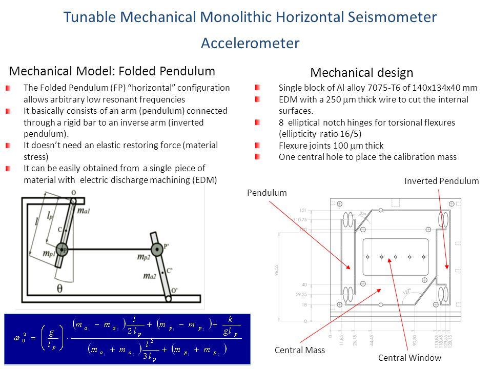 "Mechanical Model: Folded Pendulum The Folded Pendulum (FP) ""horizontal"" configuration allows arbitrary low resonant frequencies It basically consists"