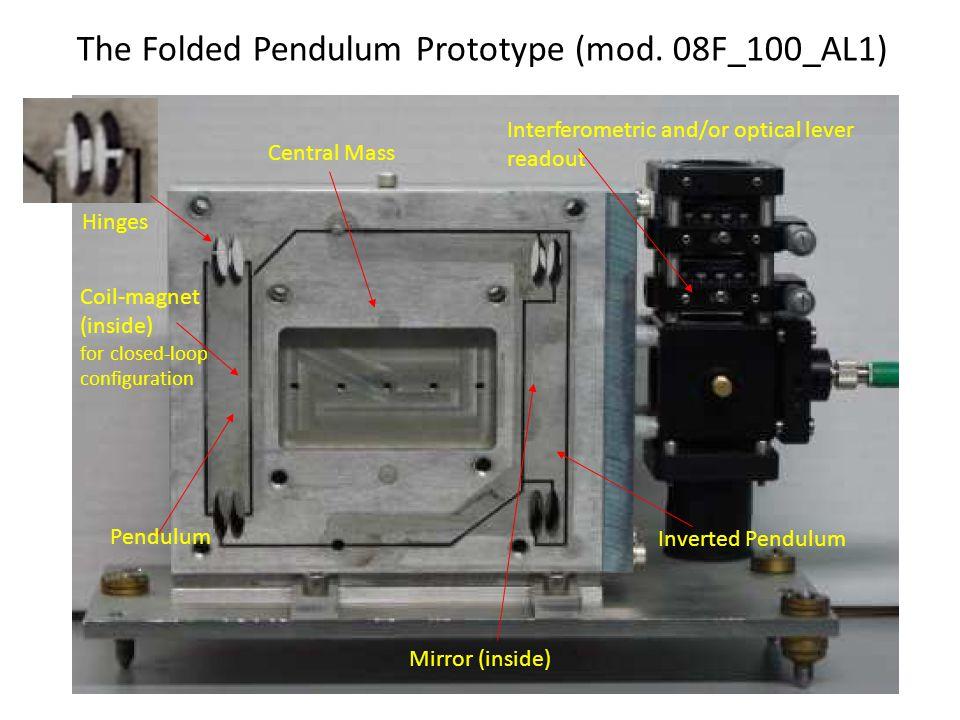 The Folded Pendulum Prototype (mod. 08F_100_AL1) Pendulum Mirror (inside) Interferometric and/or optical lever readout Coil-magnet (inside) for closed
