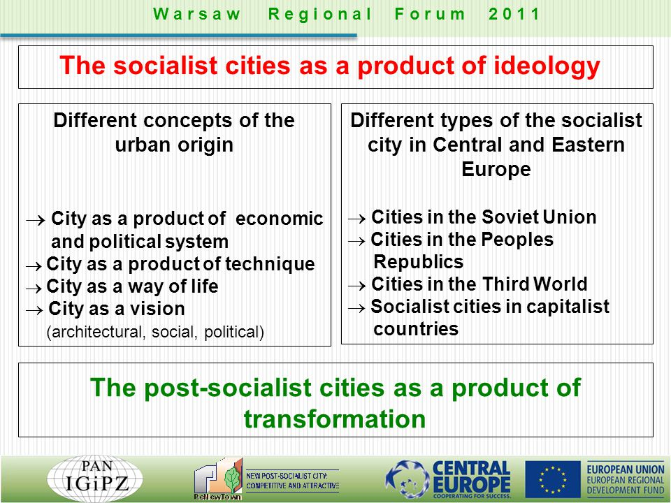 Different concepts of the urban origin  City as a product of economic and political system  City as a product of technique  City as a way of life 