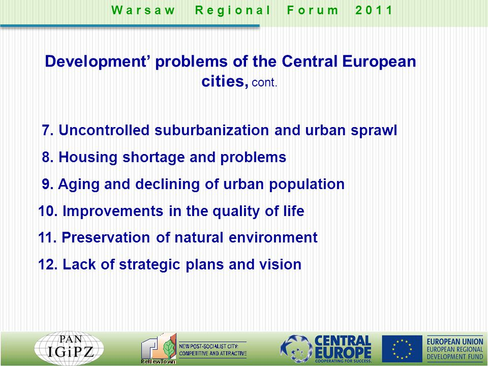 Development' problems of the Central European cities, cont.