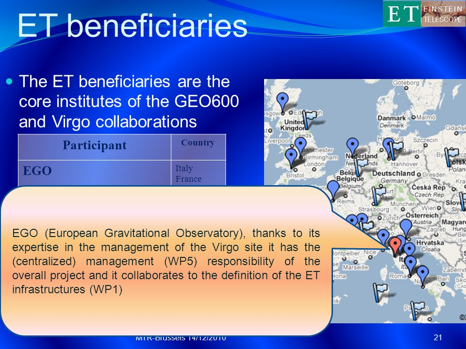 ET beneficiaries The ET beneficiaries are the core institutes of the GEO600 and Virgo collaborations MTR-Brussels 14/12/201021 Participant Country EGO Italy France INFN Italy MPG Germany CNRS France University of Birmingham UK University of Glasgow UK Nikhef NL Cardiff University UK EGO (European Gravitational Observatory), thanks to its expertise in the management of the Virgo site it has the (centralized) management (WP5) responsibility of the overall project and it collaborates to the definition of the ET infrastructures (WP1)