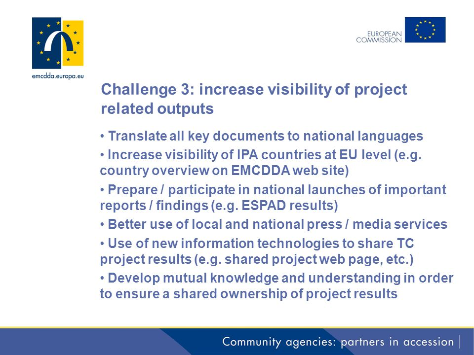 Challenge 3: increase visibility of project related outputs Translate all key documents to national languages Increase visibility of IPA countries at