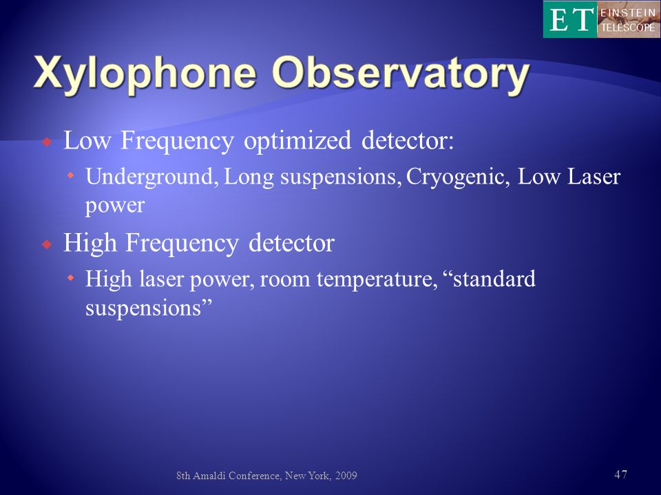  Low Frequency optimized detector:  Underground, Long suspensions, Cryogenic, Low Laser power  High Frequency detector  High laser power, room temperature, standard suspensions 8th Amaldi Conference, New York, 2009 47