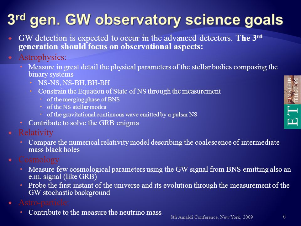  GW detection is expected to occur in the advanced detectors.