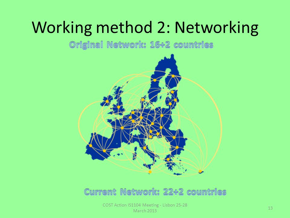 Working method 2: Networking COST Action IS1104 Meeting - Lisbon 25-28 March 2013 13