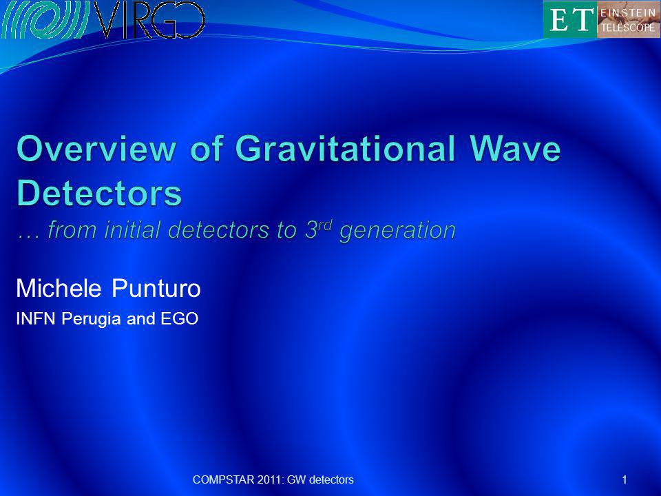 Talk Outline Introduction to the Gravitational Wave (GW) search Gravitational wave detectors Working principles Current status Advanced detectors 3 rd generation of gravitational wave observatories The Einstein Telescope Conclusions 2COMPSTAR 2011: GW detectors
