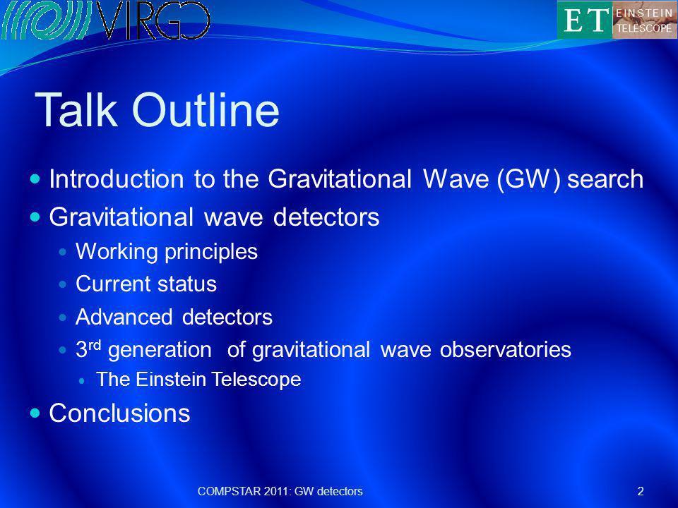 GW interferometric detectors A network of detectors has been active in the World in the last years COMPSTAR 2011: GW detectors13 TAMA, Tokyo, 300 m (now CLIO) GEO, Hannover, 600 m LIGO Livingston, 4 km Virgo, Cascina, 3 km LIGO Hanford, 4 km: 2 ITF on the same site!