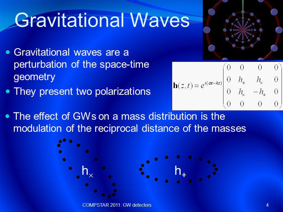Stochastic GW background SGWB is characterized by a GW spectrum: COMPSTAR 2011: GW detectors35 Energy density of GW radiation contained in the frequency range f - f+df Critical energy density of the universe LIGO detectors correlation set an upper limit on the GW spectrum more stringent than the one set by Big Bang nucleosyntesis (BBN) Abbott, et al.