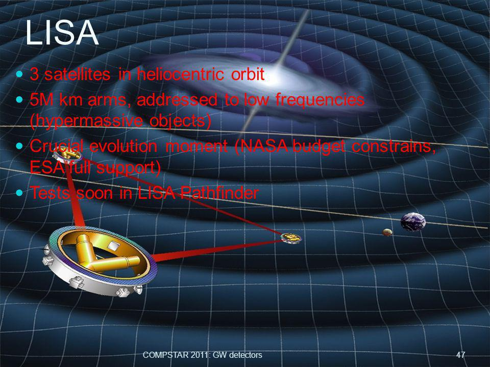 LISA 3 satellites in heliocentric orbit 5M km arms, addressed to low frequencies (hypermassive objects) Crucial evolution moment (NASA budget constrains, ESA full support) Tests soon in LISA Pathfinder COMPSTAR 2011: GW detectors47