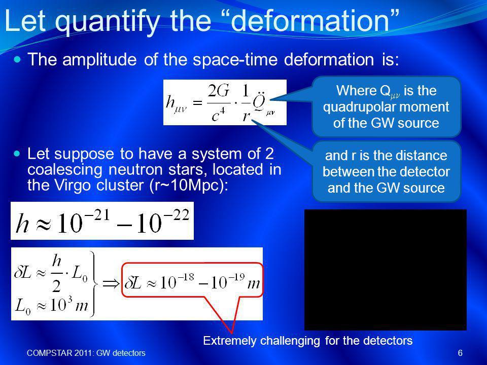 COMPSTAR 2011: GW detectors7 Neutron star binary system: PSR1913+16 Pulsar bound to a dark companion , 7 kpc from Earth.