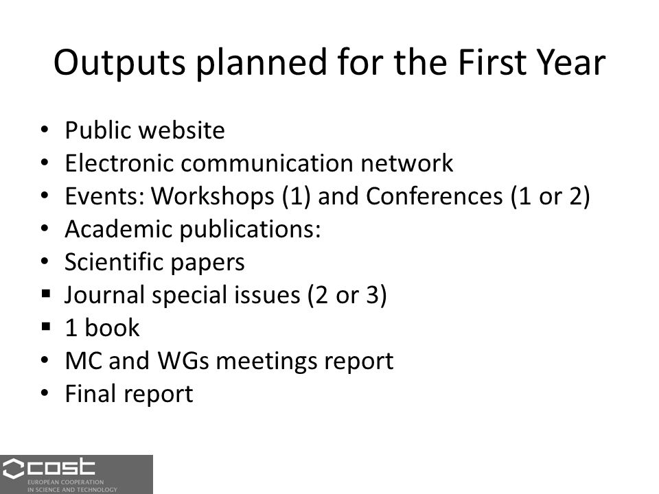 Outputs planned for the First Year Public website Electronic communication network Events: Workshops (1) and Conferences (1 or 2) Academic publications: Scientific papers  Journal special issues (2 or 3)  1 book MC and WGs meetings report Final report