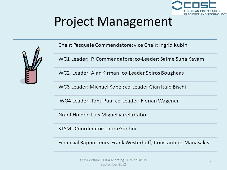 Project Management Chair: Pasquale Commendatore; vice Chair: Ingrid Kubin WG1 Leader: P.