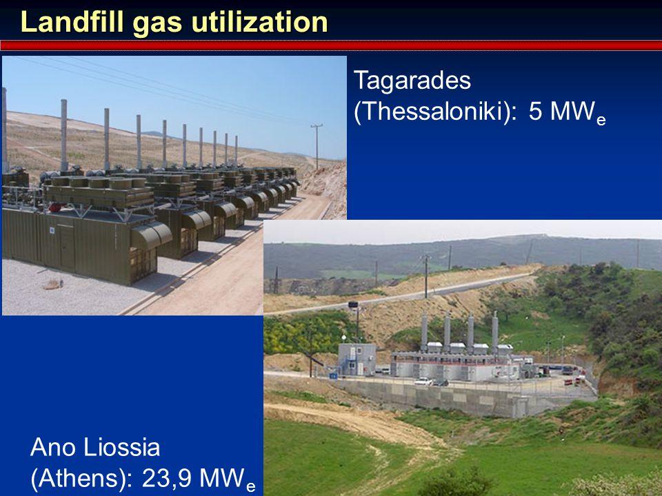 Landfill gas utilization Ano Liossia (Athens): 23,9 MW e Tagarades (Thessaloniki): 5 MW e
