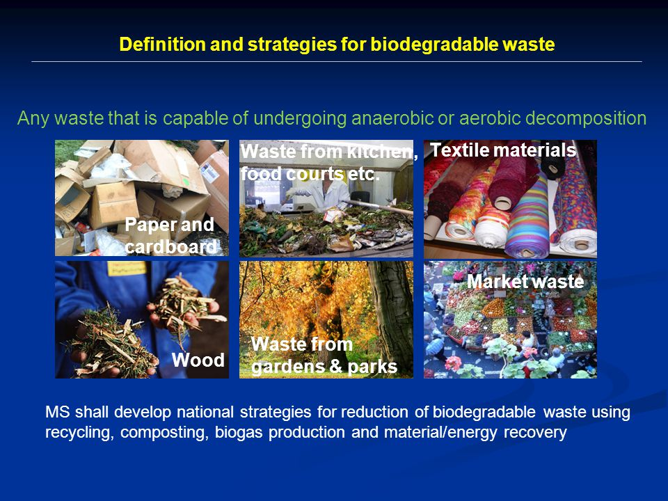 MS shall develop national strategies for reduction of biodegradable waste using recycling, composting, biogas production and material/energy recovery Any waste that is capable of undergoing anaerobic or aerobic decomposition Paper and cardboard Waste from kitchen, food courts etc.
