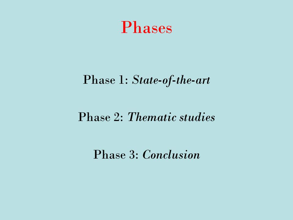 Phases Phase 1: State-of-the-art Phase 2: Thematic studies Phase 3: Conclusion