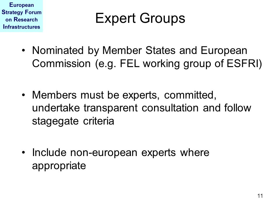 11 Expert Groups Nominated by Member States and European Commission (e.g. FEL working group of ESFRI) Members must be experts, committed, undertake tr