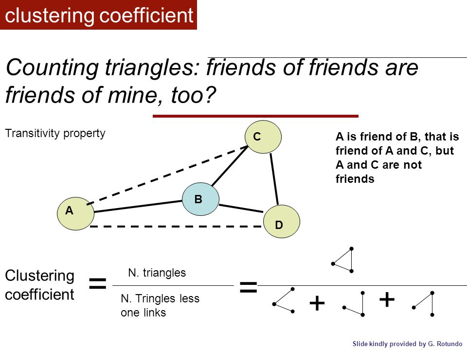 Counting triangles: friends of friends are friends of mine, too? clustering coefficient Clustering coefficient = N. triangles N. Tringles less one lin