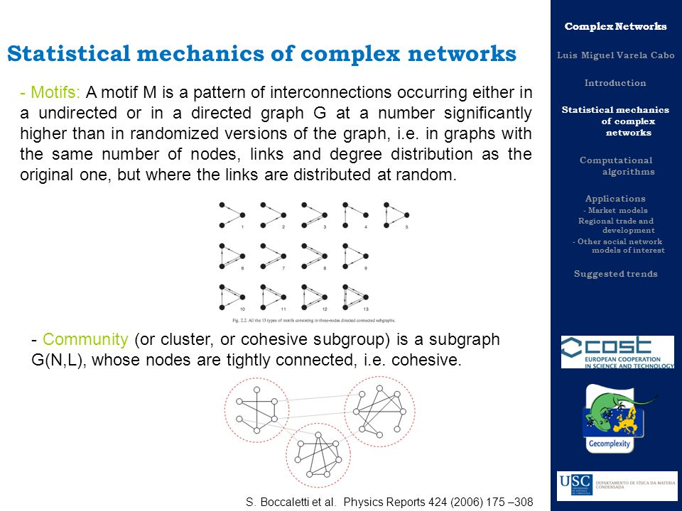 Fundamental concepts for network topology description - Motifs: A motif M is a pattern of interconnections occurring either in a undirected or in a directed graph G at a number significantly higher than in randomized versions of the graph, i.e.